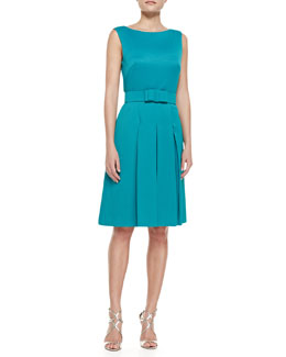 Badgley Mischka Collection Sleeveless Cocktail Dress with Bow Belt, Teal