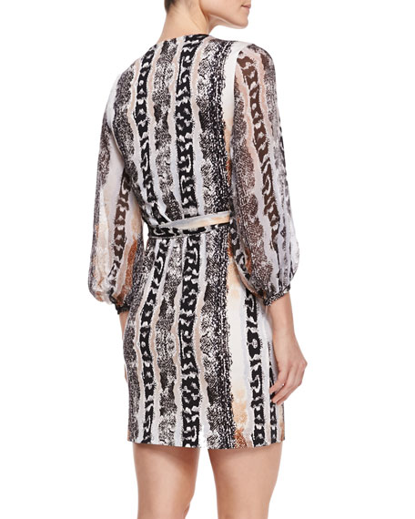 Sigourney Snake-Print Short Wrap Dress