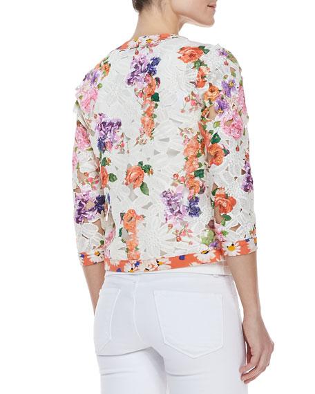 Floral-Print Lace Cardigan