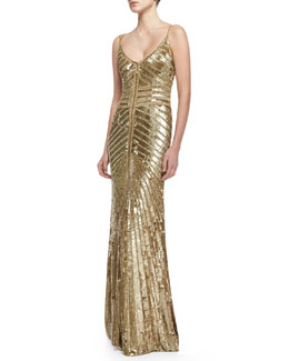 Theia by Don O'Neill Spaghetti Strap Beaded Deco Gown, Gold