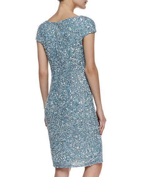 Cap-Sleeve Chunky-Sequin Cocktail Dress, Cloud Blue