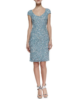 Theia by Don O'Neill Cap-Sleeve Chunky-Sequin Cocktail Dress, Cloud Blue