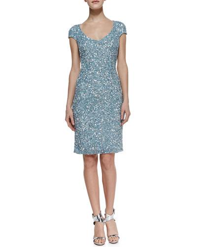 Theia Cap-Sleeve Chunky-Sequin Cocktail Dress, Cloud Blue