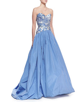 Theia Strapless Butterfly/Floral-Bodice Ball Gown, China Blue/White