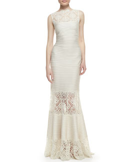 Tadashi Shoji Sleeveless Ribbed Knit and Lace Gown, Cream