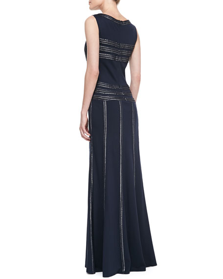 Sleeveless Boat-Neck Ribbon-Detail Gown, Navy/Silver