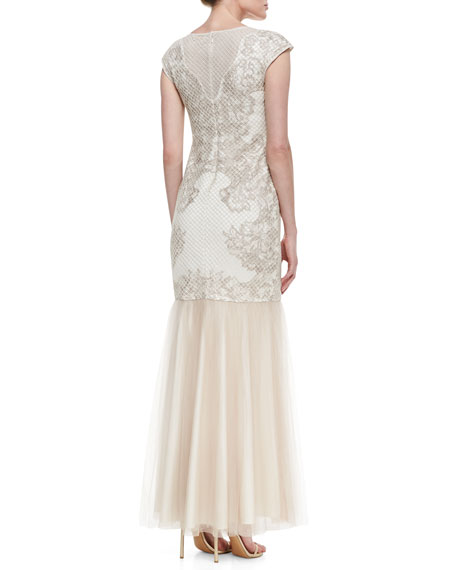 Cap Sleeve Embroidered Lace Bodice Gown, Latte