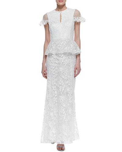 Tadashi Shoji Cap Sleeve Lace Peplum Gown, White