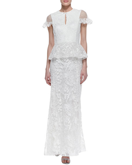 Cap Sleeve Lace Peplum Gown, White