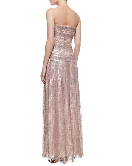 Strapless Reptile-Print Gown with Drop Waist, Pale Pink/Gray