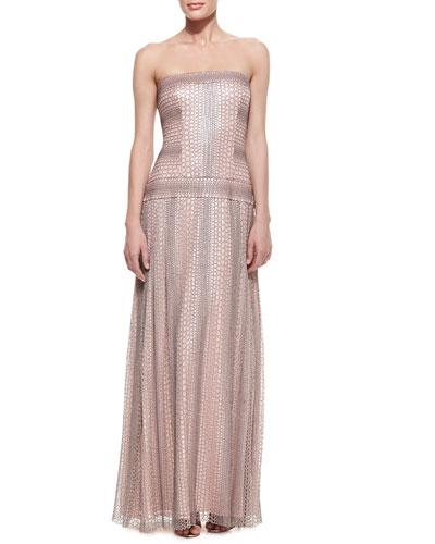 Tadashi Shoji Strapless Reptile-Print Gown with Drop Waist, Pale Pink/Gray