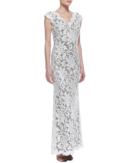 Cap-Sleeve Sequined Lace Overlay Gown, Dove Gray