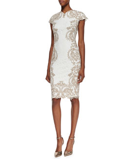 Tadashi Shoji Cap Sleeve Embroidered Border Cocktail Dress, Ivory/Sand