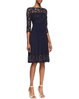 Tadashi Shoji 3/4-Sleeve Pleated Lace Cocktail Dress, Royal Navy