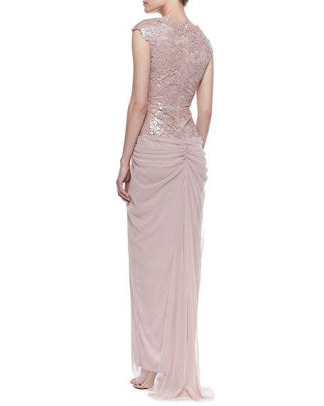 Cap-Sleeve Lace-Bodice Asymmetric Draped Gown, Antique Pink