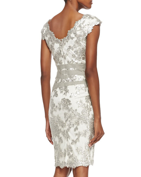 Sleeveless Sequined Lace Overlay Cocktail Dress, Feather/Silver