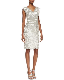 Tadashi Shoji Sleeveless Sequined Lace Overlay Cocktail Dress, Feather/Silver