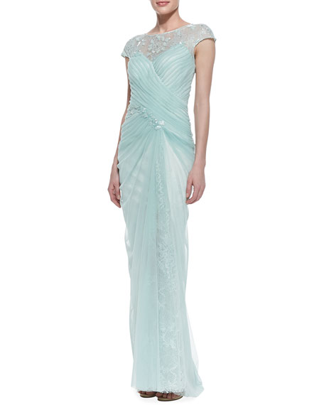 Cap Sleeve Lace Yoke Draped Gown, Mint