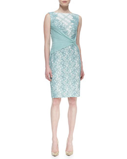 Tadashi Shoji Sleeveless Mixed-Lace Side-Wrap Dress, Mint