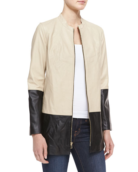 Long Colorblock Leather Jacket