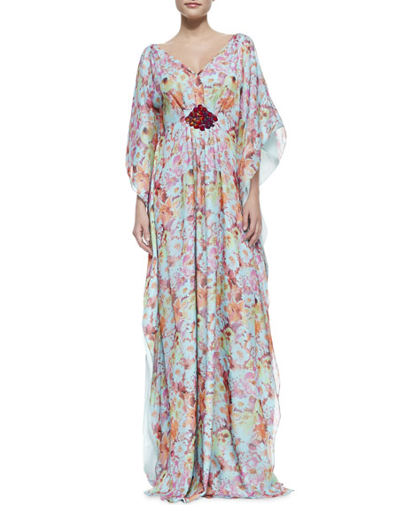 Floral Beaded Cluster-Waist Caftan Gown, Multicolor