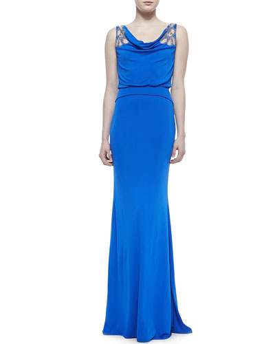 Badgley Mischka Collection Cowl-Neck Gown with Sheer Flowers at Shoulders, Blue