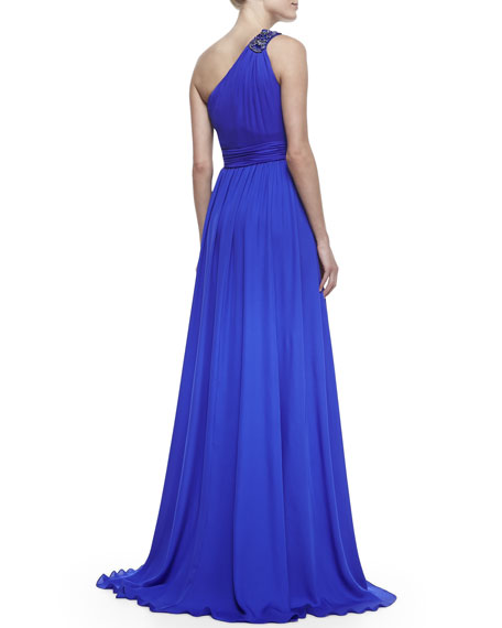 Beaded One-Shoulder Ruched-Waist Gown, Ultra Violet