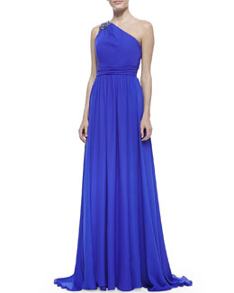 Badgley Mischka Collection Beaded One-Shoulder Ruched-Waist Gown, Ultra Violet