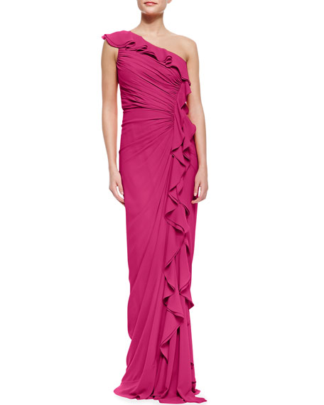 One-Shoulder Ruched Ruffle-Front Silk Gown, Fuchsia