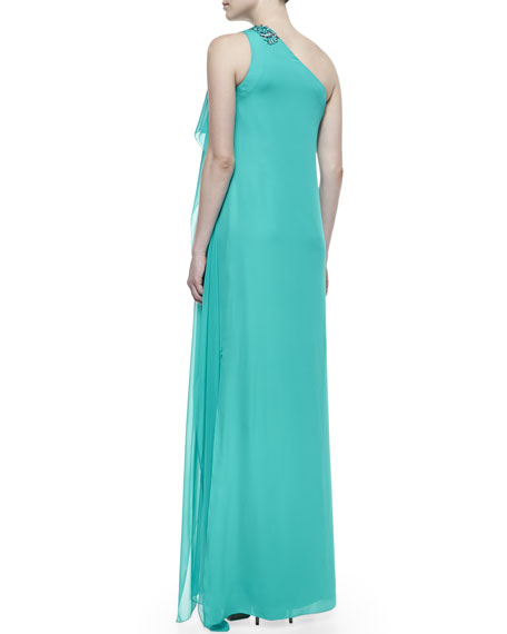 Beaded One-Shoulder Caftan Gown, Turquoise