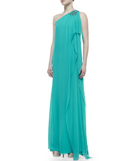 Badgley Mischka Collection Beaded One-Shoulder Caftan Gown, Turquoise