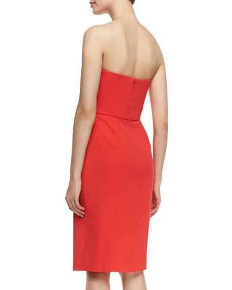 Strapless Ruffle-Front Cocktail Dress, Tangerine