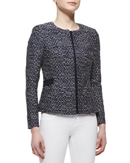 Lafayette 148 New York Bently Hidden-Zip-Front Tweed Jacket, Navy