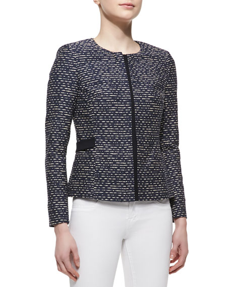 Bently Hidden-Zip-Front Tweed Jacket, Navy