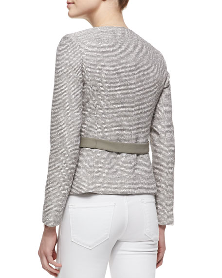 Bently Hidden-Zip-Front Tweed Jacket, Mica