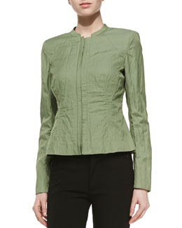 Lafayette 148 New York Margot Crinkle Jacket, Okra