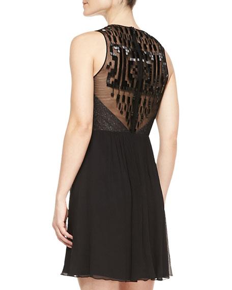Sleeveless Beaded-Back Cocktail Dress, Black