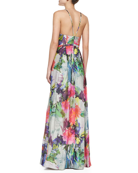 Halter Top Floral Print Ball Gown, Multicolor