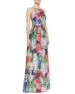 Phoebe by Kay Unger Halter Top Floral Print Ball Gown, Multicolor