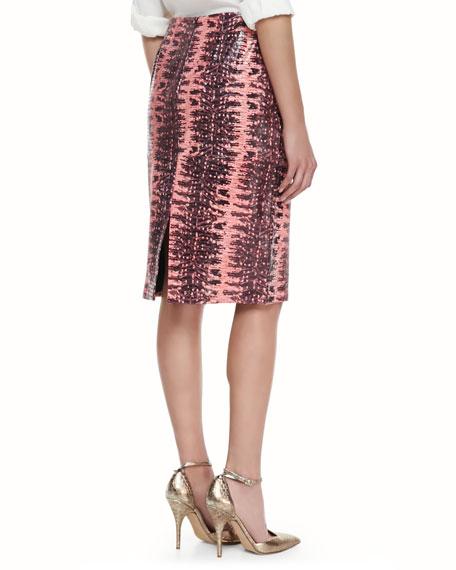 Printed Lambskin Leather Pencil Skirt