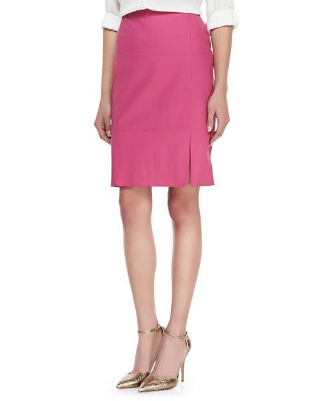 Leather Slit-Front Skirt, Camellia