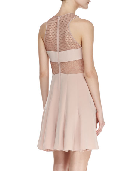 Lace-Inset Pleated Cocktail Dress