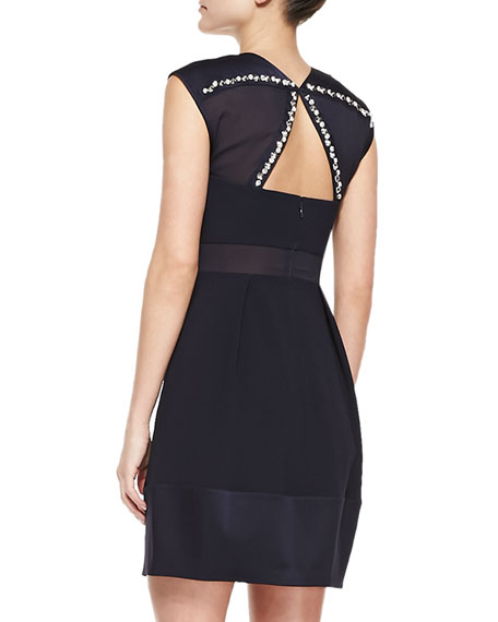 Sleeveless Embellished Neck & Back Cocktail Dress, Navy