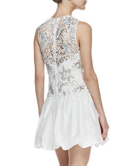 Sleeveless Embellished Illusion Cocktail Dress