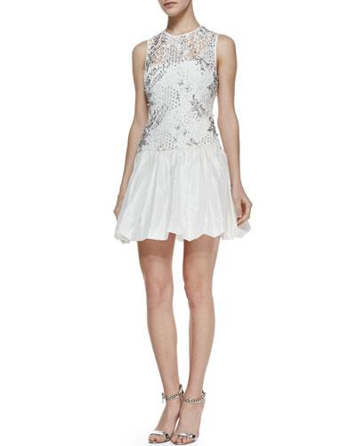 Rebecca Taylor Sleeveless Embellished Illusion Cocktail Dress