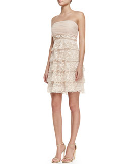 Sue Wong Strapless Tiered-Lace Cocktail Dress, Blush