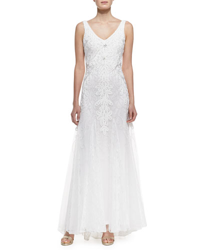 Sue Wong Sleeveless Lace & Beaded Gown with Godets, White