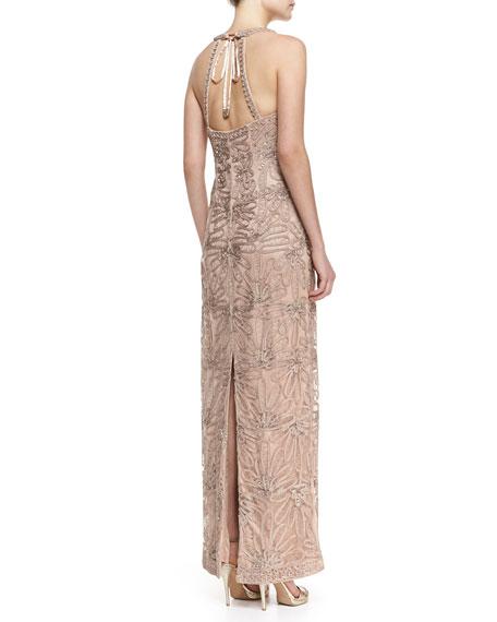 Sleeveless V-Neck Embroidered Column Gown, Beige