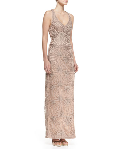 Sue Wong Sleeveless V-Neck Embroidered Column Gown, Beige