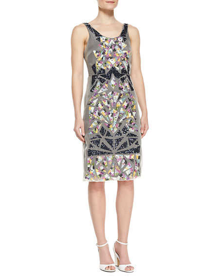 Sleeveless Shattered Glass Pattern Cocktail Dress, Multicolor